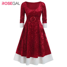 Load image into Gallery viewer, ROSEGAL Plus Size Christmas O-ring Bowknot Contrast Velvet Midi Dress - SaturnLoop Shops Sales