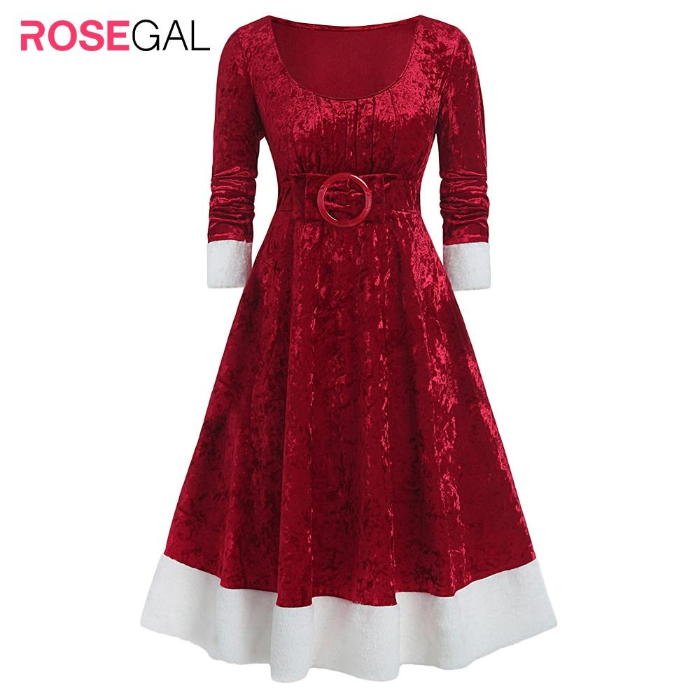 ROSEGAL Plus Size Christmas O-ring Bowknot Contrast Velvet Midi Dress - SaturnLoop Shops Sales