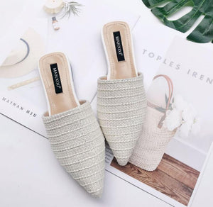 Slippers Fashion Pointed Toe Weave Mules Shoes Flat Slides Summer Beach Flip Flop Outside Slip On Shoes - SaturnLoop Shops Sales