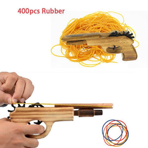 Classic Rubber Band Pitcher unlimited bullet Wooden Toy Guns Hand Gun - SaturnLoop Shops Sales