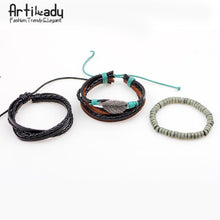 Load image into Gallery viewer, Artilady leather bracelet set 3pcs layer handmade leather bracelets - SaturnLoop Shops Sales