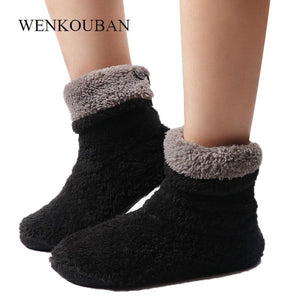 Home Slippers Women Coral Fleece Indoor Floor Shoes Warm Furry Slides Winter Indoor Sock Shoes Soft Slippers Chaussures Femme - SaturnLoop Shops Sales