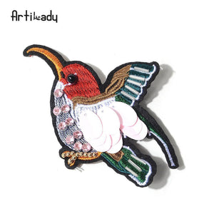 Artilady embroidery bird catus brooch pins lovely butterfly design - SaturnLoop Shops Sales
