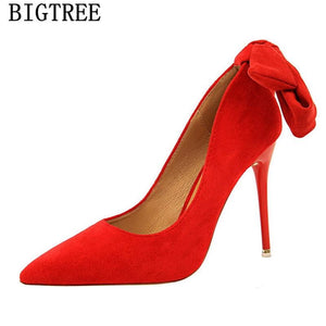 dress shoes women stiletto moccasin bigtree shoes Butterfly knot new arrival 2019 green shoes for women luxury high heels buty - SaturnLoop Shops Sales