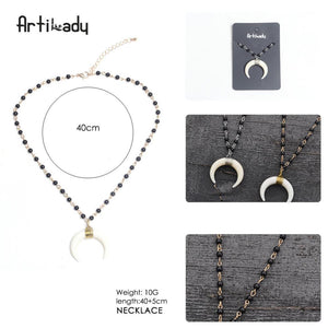 Artilady vintage white horn pendant glass bead moon necklace - SaturnLoop Shops Sales