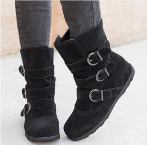 Winter buckled calf women's boots, winter women's warm zipper boots, plain flat shoes, large size women's casual boots - SaturnLoop Shops Sales