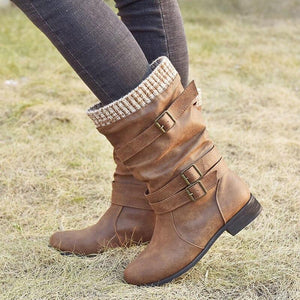 Women Winter Buckle Strap Pu Leather Chunky Heels Mid Calf Boots Woman Knitted Slip On Retro Boots Lady Casual Fashion Footwear - SaturnLoop Shops Sales