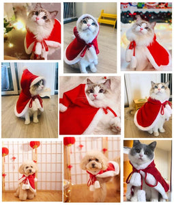 Pet Christmas Hooded Cloak Cute Cats Dogs Xmas Costume Winter Christmas Clothes Small Animal Hooded Cloak Fashion Dog Cat Cloth - SaturnLoop Shops Sales