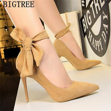 Load image into Gallery viewer, dress shoes women stiletto moccasin bigtree shoes Butterfly knot new arrival 2019 green shoes for women luxury high heels buty - SaturnLoop Shops Sales