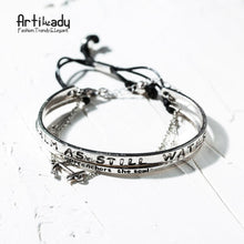 Load image into Gallery viewer, Artilady 2pcs set antic silver cuff handmade bangles - SaturnLoop Shops Sales