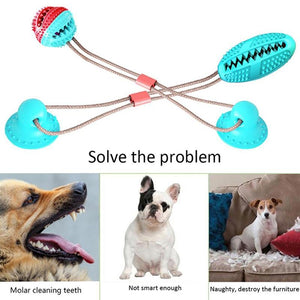 Multifunction Pet Molar Bite Toy Interactive Fun Pet Leakage Food Toys With Suction Cup Pets Ball Toy Pet Toys Dog Toys Rubber - SaturnLoop Shops Sales