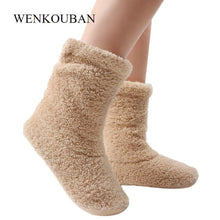 Load image into Gallery viewer, Home Slippers Women Coral Fleece Indoor Floor Shoes Warm Furry Slides Winter Indoor Sock Shoes Soft Slippers Chaussures Femme - SaturnLoop Shops Sales