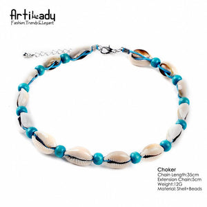 Artilady natural shell choker necklace vintage velvet rope beads jewelry - SaturnLoop Shops Sales