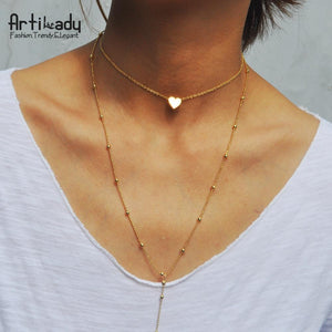 Artilady zinc alloy layer necklaces with heart long necklace - SaturnLoop Shops Sales