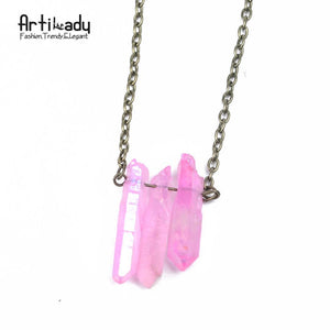 Artilady natural crystal raw quartz pendant necklace - SaturnLoop Shops Sales