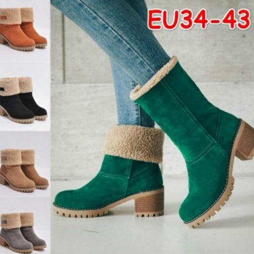 New Women Boots Winter Outdoor Keep Warm Fur Boots Waterproof Women's Snow Boots Thick Heel With Round Head Short Boot - SaturnLoop Shops Sales