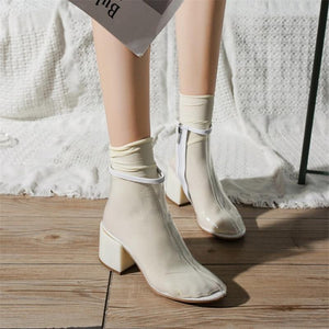 Shoes Women Transparent Clear Lucite Block High Heel Ankle Boot Round Toe Zip Plastic Ladies Motorcycle Boots - SaturnLoop Shops Sales