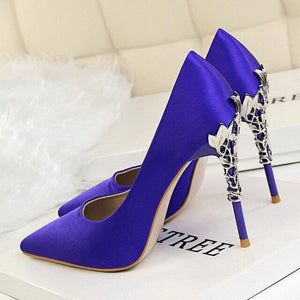 Metal Heel Flower High Shoes Silk Elegant Pumps Women Heels Shoes - SaturnLoop Shops Sales