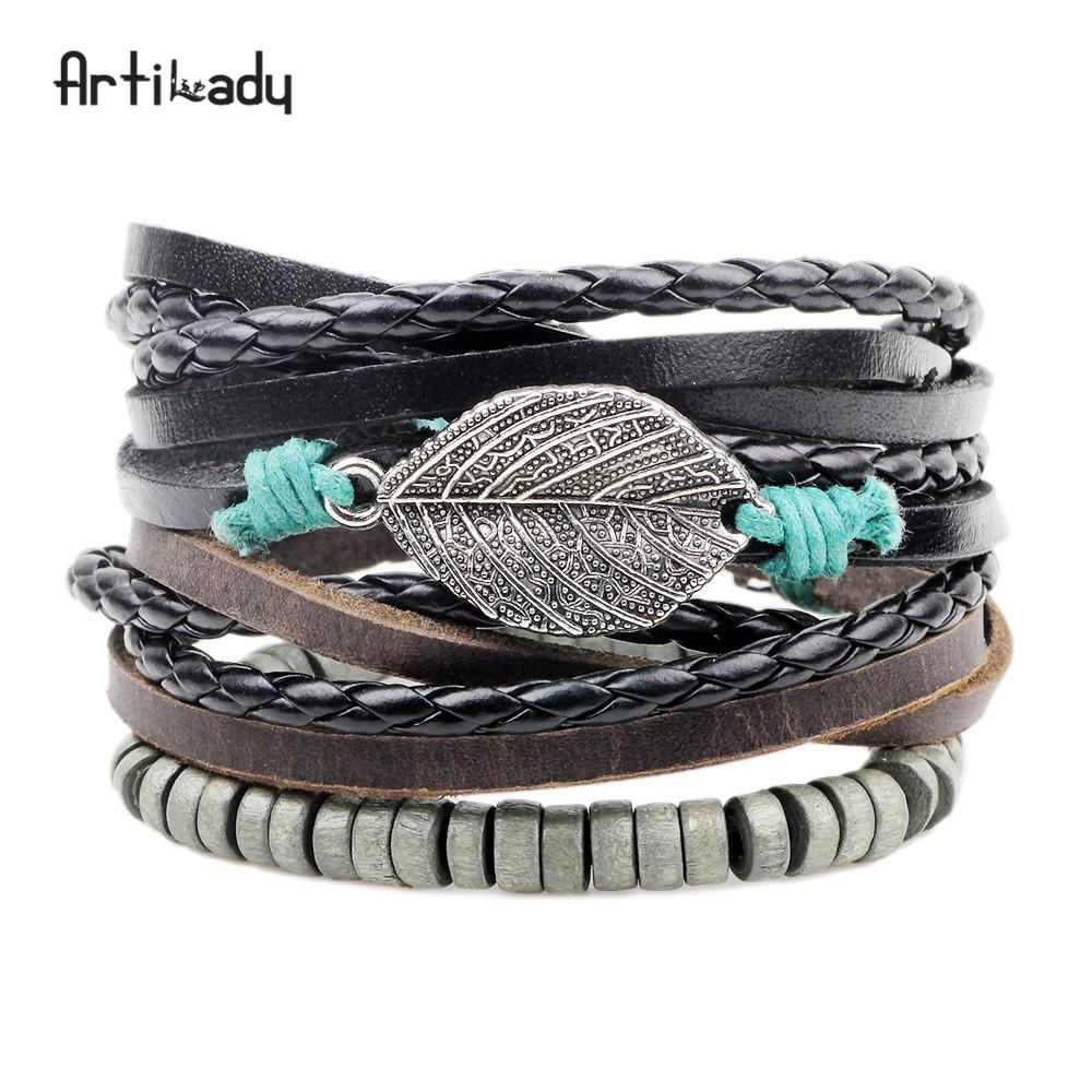 Artilady leather bracelet set 3pcs layer handmade leather bracelets - SaturnLoop Shops Sales
