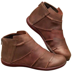 Women's PU Leather Ankle Boots Women Autumn Winter Cross Strappy Vintage Women Punk Boots Flat Ladies Shoes Woman Botas Mujer - SaturnLoop Shops Sales