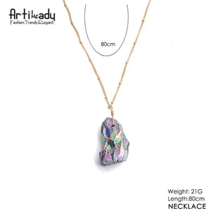 Artilady natural crystal pendant necklace with gold color chain - SaturnLoop Shops Sales