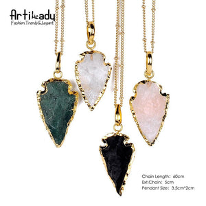 Artilady natural crystal arrows pendant necklace - SaturnLoop Shops Sales