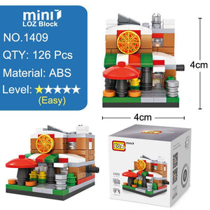 LOZ Mini Street Town Hall Pizza Shop Fire Department Theater Mini Building Blocks - SaturnLoop Shops Sales