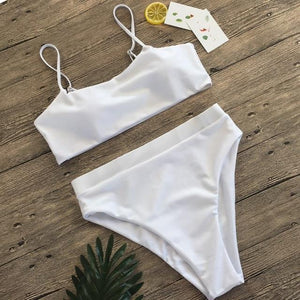 Sexy High Waist Bikini Set Swimsuit Popular Swimming Suit Biquini Two Pieces Solid High Quality Swimwear Women Fashion Beachwear - SaturnLoop Shops Sales
