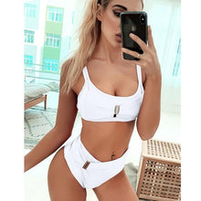 Load image into Gallery viewer, 2020 New Sexy High Waist Bikini Swimsuit Women Swimwear Bandeau Push Up Bikini Set Buckle Bathing Suit Beach Wear Swimming Suit - SaturnLoop Shops Sales
