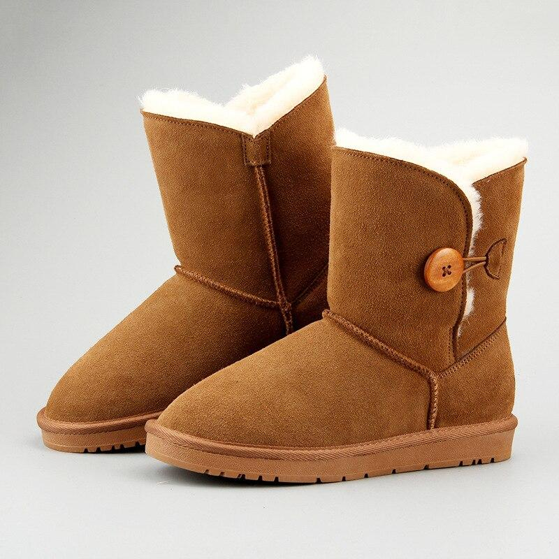 Casual classic warm wear-resistant anti-slip Genuine Leather men's snow boots leather fabric and wool warm winter women's shoes - SaturnLoop Shops Sales