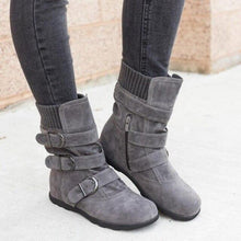 Load image into Gallery viewer, Winter buckled calf women's boots, winter women's warm zipper boots, plain flat shoes, large size women's casual boots - SaturnLoop Shops Sales
