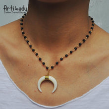 Load image into Gallery viewer, Artilady vintage white horn pendant glass bead moon necklace - SaturnLoop Shops Sales
