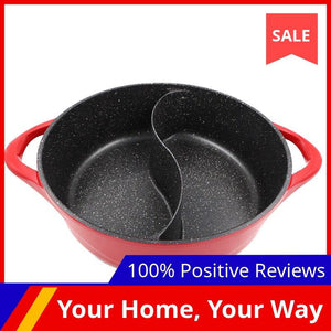 Master Star Granite Coating Sauce Pot Chinese Hot Pot 6.5L Deep Double-Flavor Pot High Quality Thick Non-stick Induction Cooker - SaturnLoop Shops Sales
