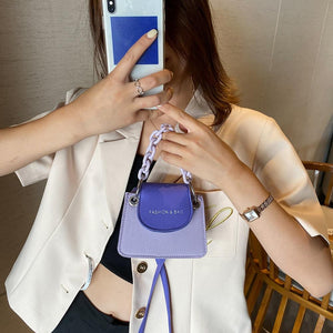 Youth Ladies Simple Versatile Bag Women Mini Crossbody Bag Acrylic Chain Lady Hit Color PU Leather Shoulder Pouch - SaturnLoop Shops Sales