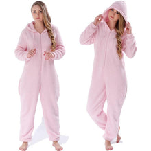 Load image into Gallery viewer, Winter Warm Pyjamas Women Onesies Fluffy Fleece Jumpsuits Sleepwear Overall Large Size Hood Sets Pajamas Onesie For Women - SaturnLoop Shops Sales