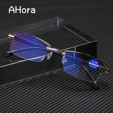 Load image into Gallery viewer, Ahora Anti Blue Light Blocking Rimless Reading Glasses Women Men Square Frameless Presbyopic Glasses Diopters +1.0 1.5 2 2.5 4.0 - SaturnLoop Shops Sales
