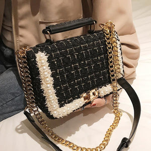 Fashion New Female Square Tote bag Quality Woolen Pearl Women's Designer Handbag Ladies Chain Shoulder Crossbody Bag Travel - SaturnLoop Shops Sales