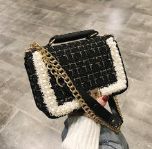 Load image into Gallery viewer, Fashion New Female Square Tote bag Quality Woolen Pearl Women's Designer Handbag Ladies Chain Shoulder Crossbody Bag Travel - SaturnLoop Shops Sales