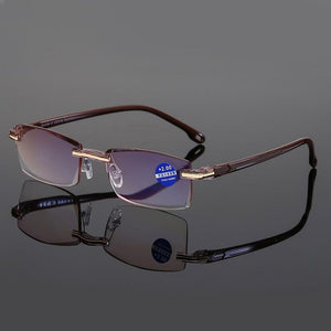 Ahora Anti Blue Light Blocking Rimless Reading Glasses Women Men Square Frameless Presbyopic Glasses Diopters +1.0 1.5 2 2.5 4.0 - SaturnLoop Shops Sales