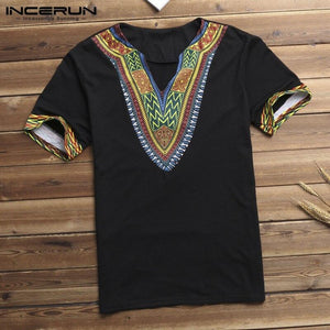INCERUN Fashion Men Dashiki T Shirt V Neck Print Tops African Ethnic Short Sleeve Brand T-shirts Men African Clothes 2020 S-5XL - SaturnLoop Shops Sales
