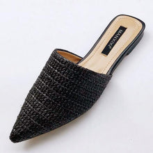 Load image into Gallery viewer, Slippers Fashion Pointed Toe Weave Mules Shoes Flat Slides Summer Beach Flip Flop Outside Slip On Shoes - SaturnLoop Shops Sales
