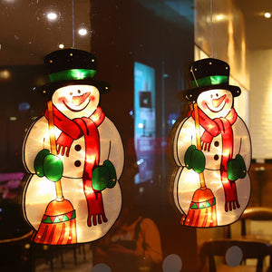 Santa Claus Led Suction Cup Window Hanging Lights Christmas Decorative Atmosphere Scene Decor Festive Decorative Lights
