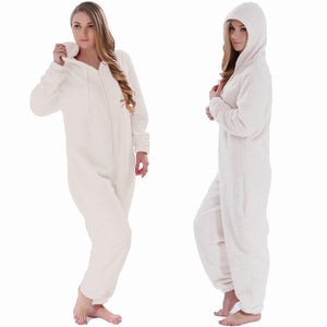 Winter Warm Pyjamas Women Onesies Fluffy Fleece Jumpsuits Sleepwear Overall Large Size Hood Sets Pajamas Onesie For Women - SaturnLoop Shops Sales