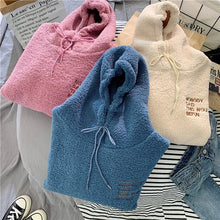 Load image into Gallery viewer, Loose Pocket Hoodies Womens Fleece Flannel Pullover Female Sweatshirt