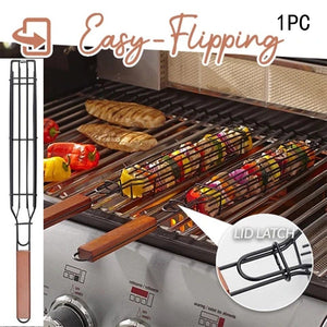 Portable BBQ Grilling Basket Stainless Steel Nonstick Barbecue Grill Basket Tools Mesh  Kitchen Tools kitchen accessories#30 - SaturnLoop Shops Sales
