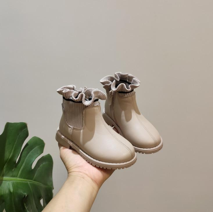 Winter New Girls Boots Toddler Shoes Leather Ruffle Zip WaterProof Kids Boots Fashion Little Baby Shoes 0-3 years - SaturnLoop Shops Sales