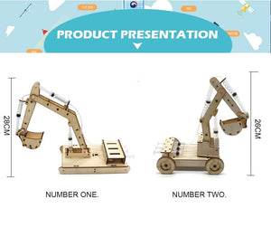 STEM Toys for Children Educational Science Experiment Technology Toy Set  DIY Hydraulic Excavator Model Puzzle Painted Kids Toys - SaturnLoop Shops Sales