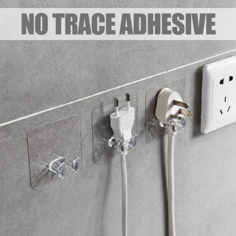 2PCS Home Office Wall Adhesive Power Plug Socket Holder Hanger Sticky Hook Shaving Razor key Kitchen Rack Transparent Shelf L410 - SaturnLoop Shops Sales