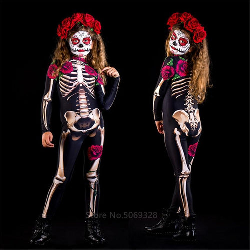 Skeleton Rose Sexy Women Halloween Devil Ghost Jumpsuit Party Carnival Performance Scary Costume Kids Baby Girl Day Of The Dead - SaturnLoop Shops Sales