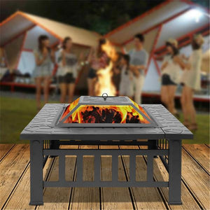Courtyard Metal Fire Bowl with Accessories Black Outdoor Fireplace With Mesh Screen Lid Poker Metal Garden Backyard Fire Pit